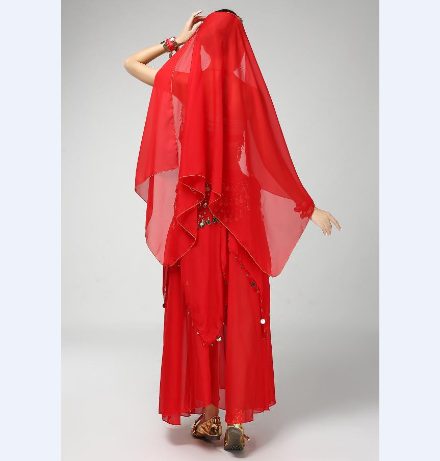 女性のベリーダンス衣装高品質を踊っ着用トップス&スカート&ウエスト&ヘッド装飾&手首チェーンステージ服