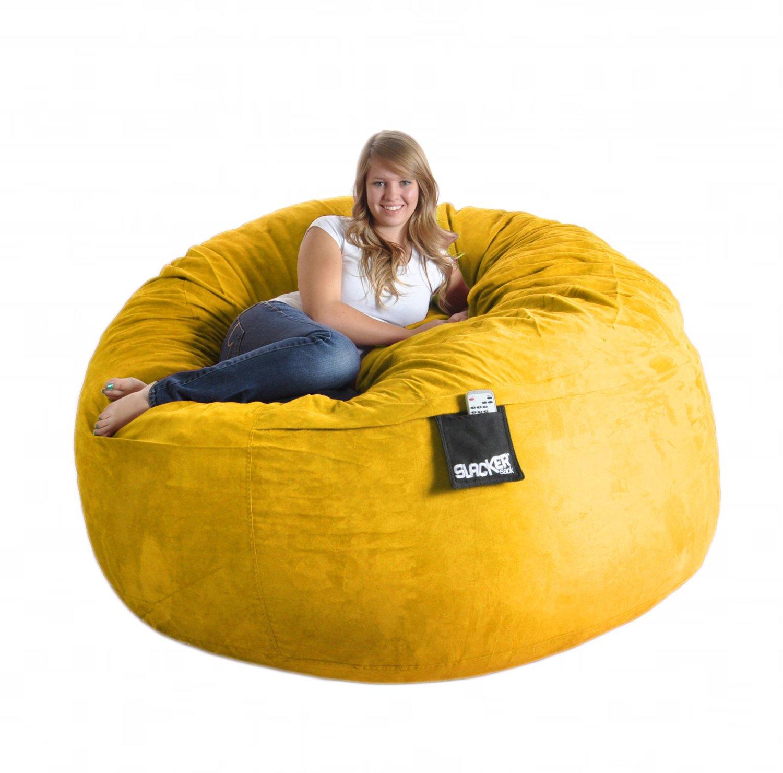 Get Quotations · 6u0027 Round Yellow Foam Beanbag Chair Huge SLACKER Sack  Microsuede Cover Lemon XL