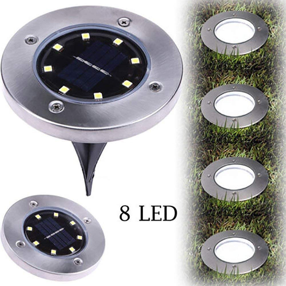 8LED Solar Underground Lamp Garden Lamp with Ground Tip Underground Lamp Lawn Lantern Garden Lamp (Warm Yellow Light, 4pack)