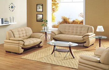 Modern Leather Sofa Set Camel