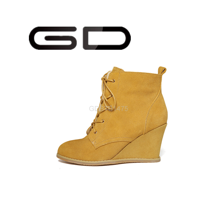 Footwear ladies suede wedge shoes boots with lace up fastened 2015