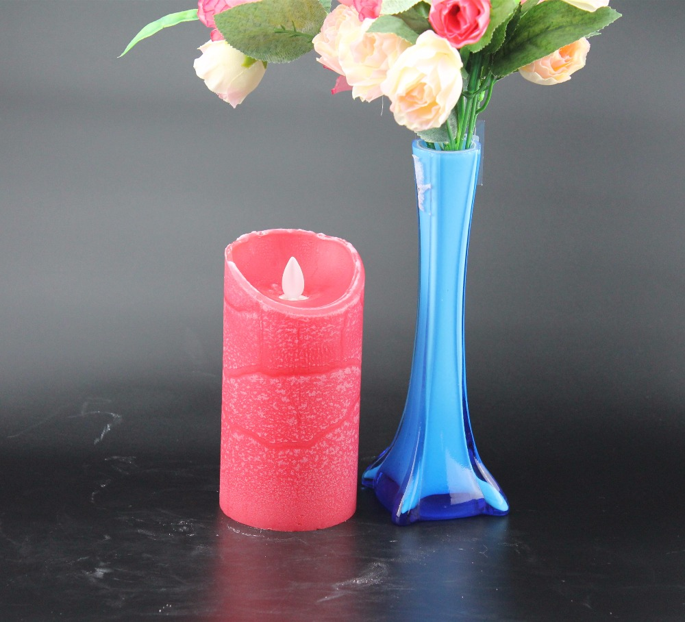 china manufacture red wax flameless dancing led candle scented with on/off timer