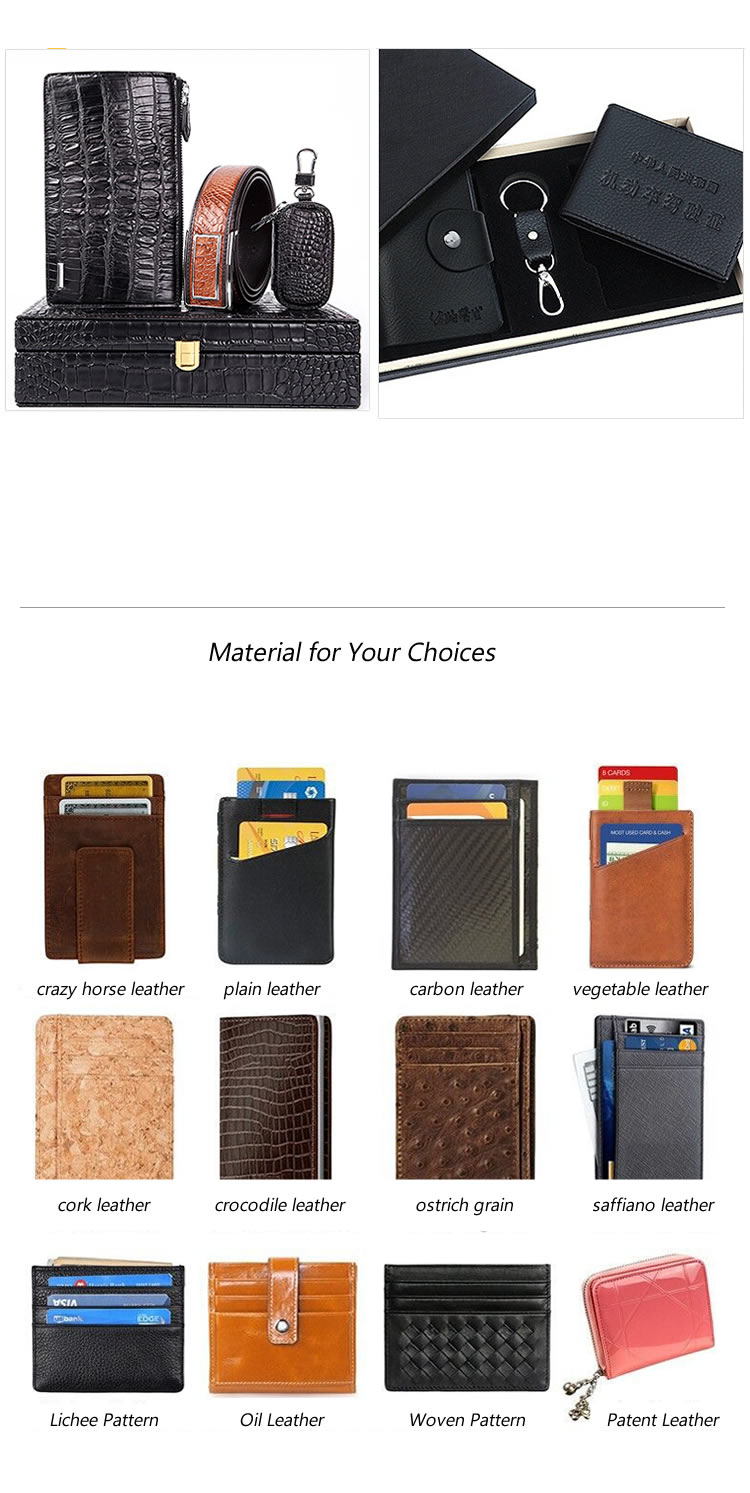 Fashion classical custom mens card case cover soft leather passport wallet for gift