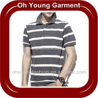 New Style kids clothing Men's Stripe Polo T Shirts Yarn Dyed Short Sleeve Print sport wear Custom Made In China