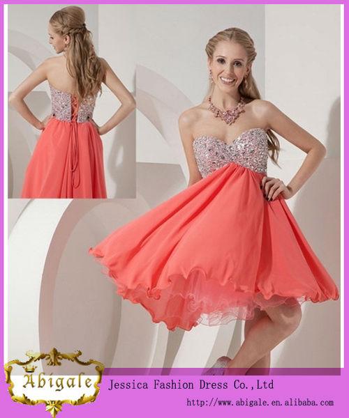 Vestidos de noche cortos color coral