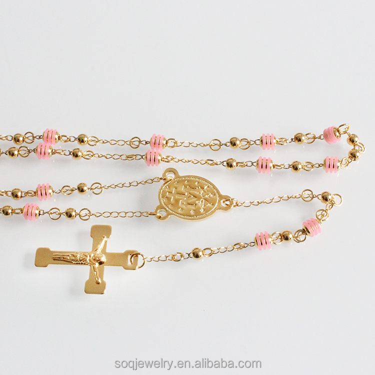 New type trending jewelry stainless steel beads long chain cross pendant turkish gold necklace