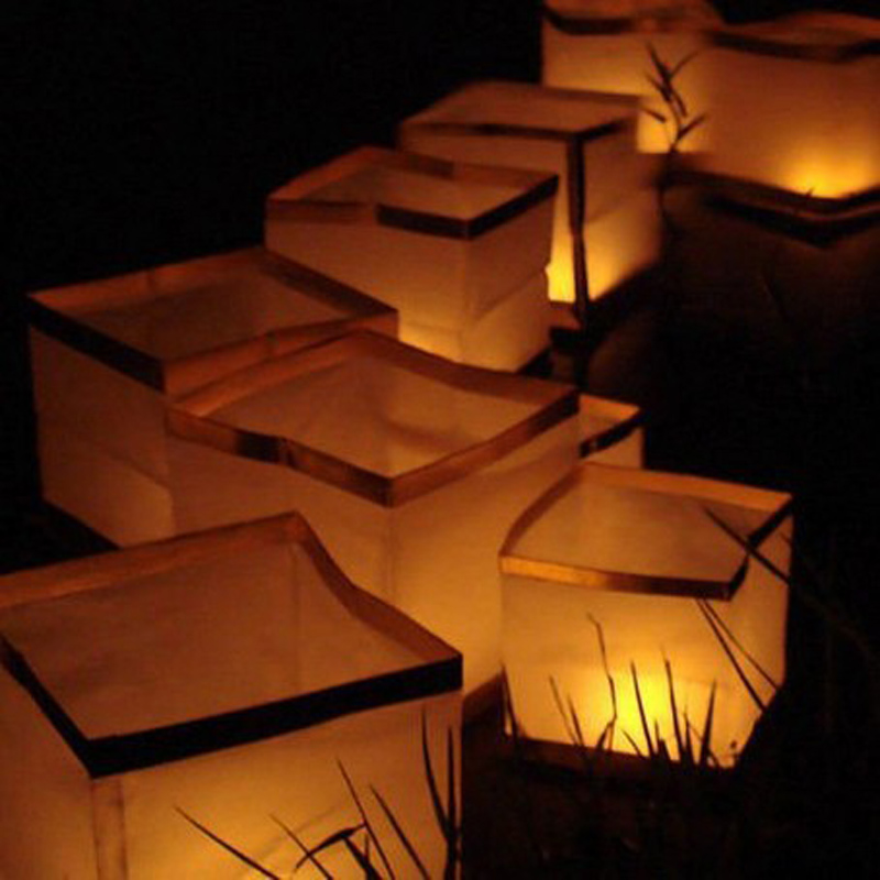 Floating Water Festival Square Lantern Paper Lanterns Wishing Lantern With  Candle - Buy Floating Water Lantern,Wishing Lantern,Square Lantern Product
