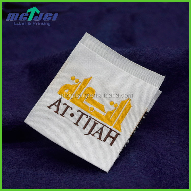 Centre fold high density woven label for clothes