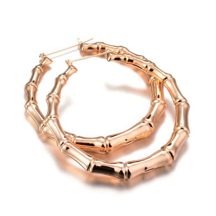 BQ-46 Funky Clip-on Earrings Women Gold For College Girls Unique Large Gold Bamboo Hoop Earrings