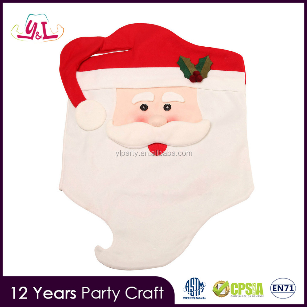 New Premium 2017 Raz Christmas Decor Mr&Mrs Santa Claus Christmas Kitchen Chair Covers Dinner Banquet Chair Cover