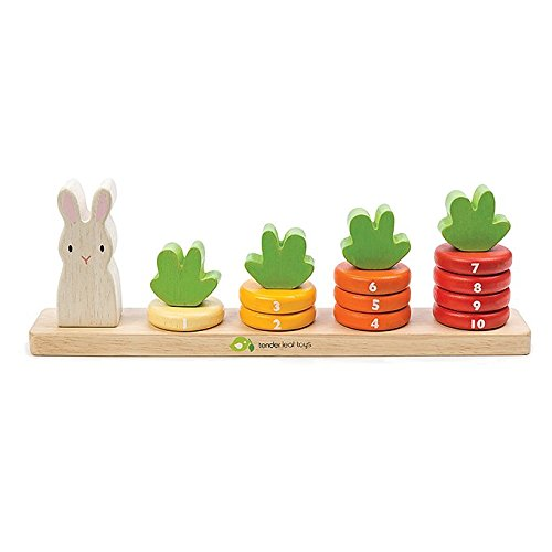 Counting Carrots Stacker Wooden Ring Set - STEM Learning Math Abacus Number Learning and Counting Stacker Color Identification Stacking Game Toy for Kids 18 month +