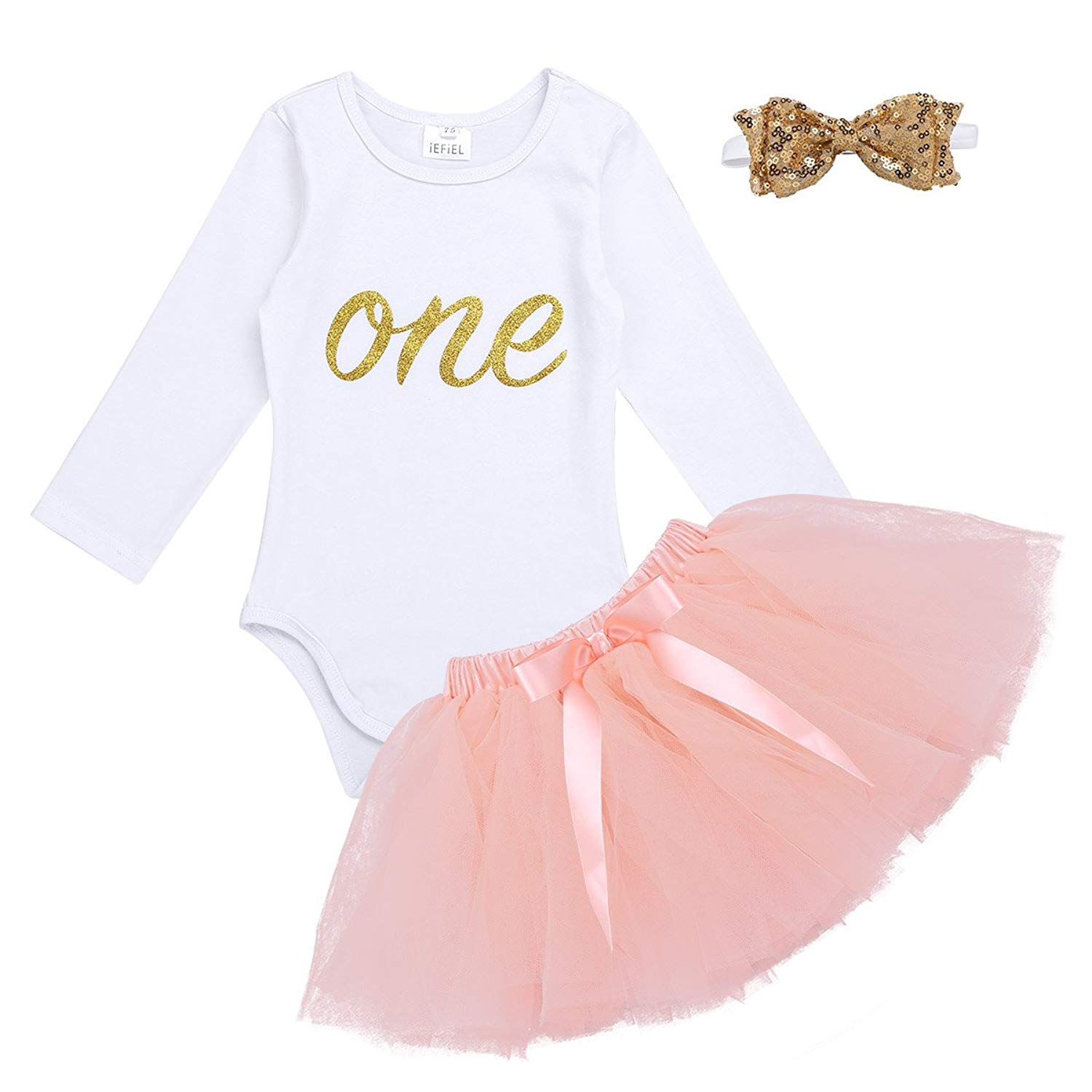 ed5bed7c70ea Get Quotations · Freebily Baby Girls First 1st Birthday Cake Smash Outfits  Tutu Skirt+Romper+Headband