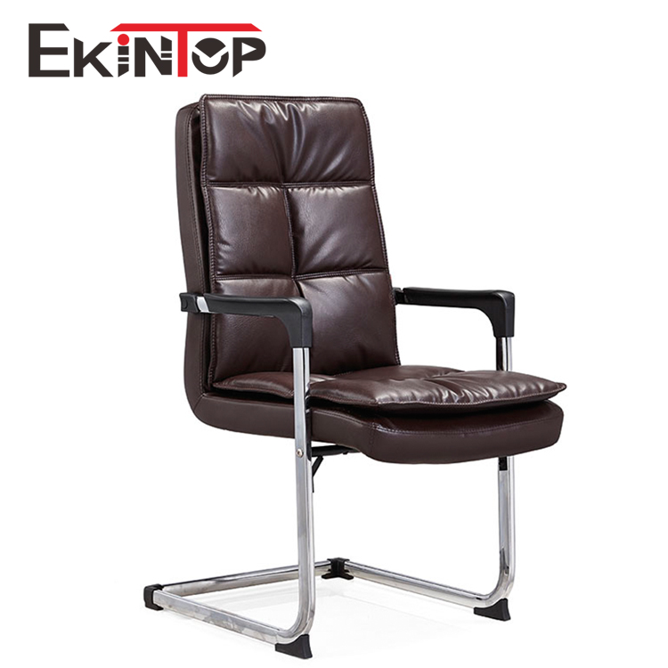 Ergonomic Conference Chair Leather Visit Office Chairs without Wheels for Meeting Rooms