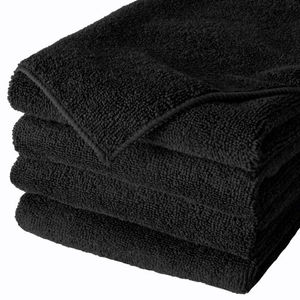 black dyed color microfiber cleaning washcloth towel