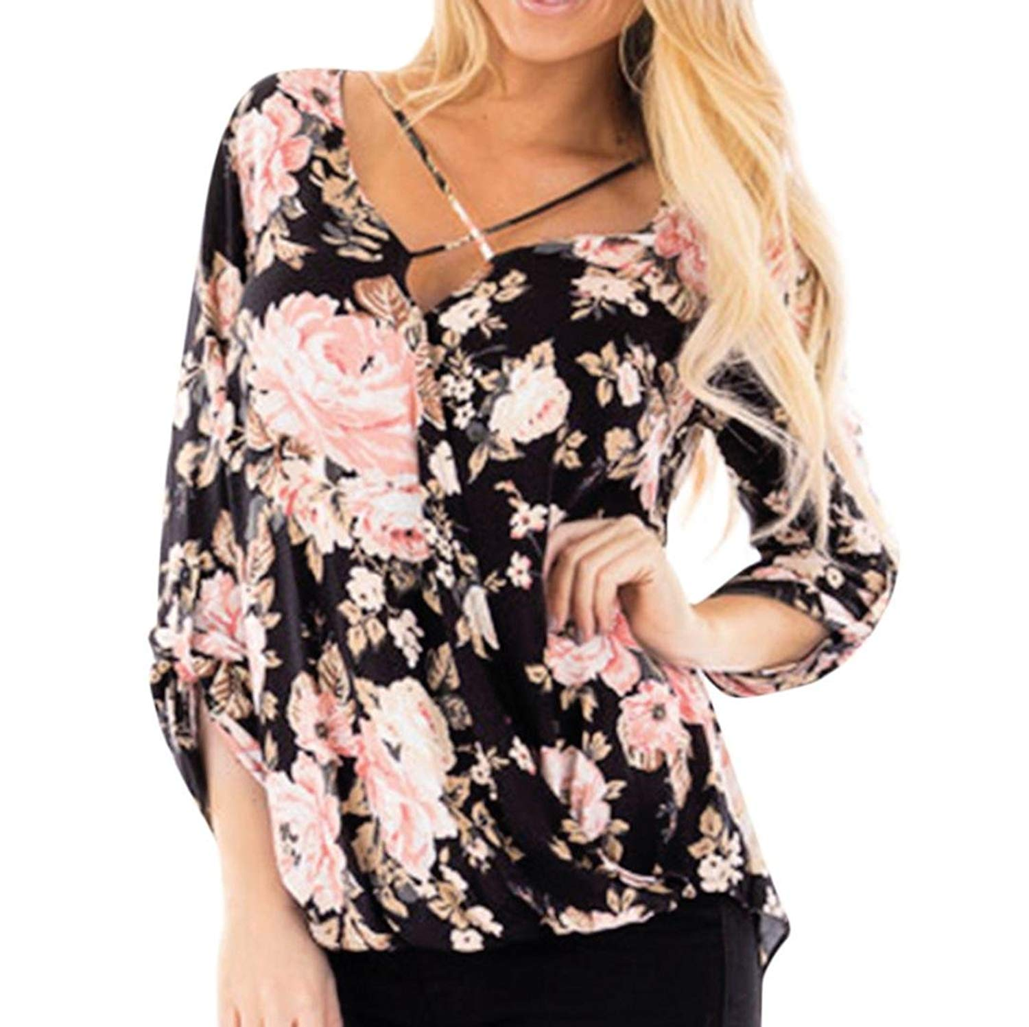 2018 New! Floral Long Sleeve Tops,Women Fasjhion Printed Criss Cross V Neck Blouse Bandage Irregular Hem T-Shirts Plus Size
