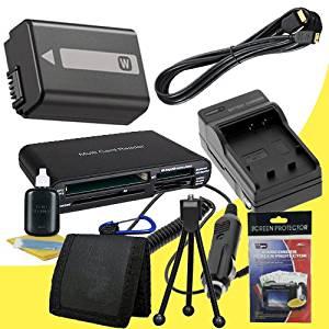 Two NPFW50 Lithium Ion Replacement Batteries for Sony SLTA55V SLTA35 SLTA33 NEX5 NEX3 Alpha Digital SLR Camera DavisMAX Bundle