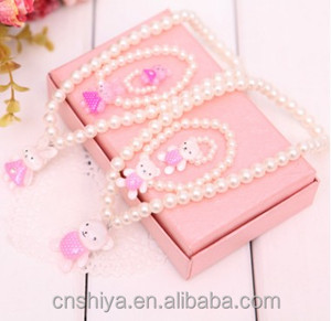 lovely pink bead necklace for kids bear rabbit charm neck jewelry for Children