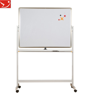 Double sides magnetic mobile white board with wheels children magnetic whiteboard