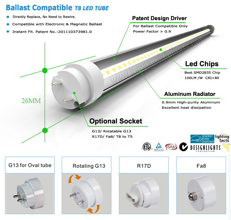 8ft Led T8 Compatible-ballast Tube Replacement Etl Saa Tuv Ce ...