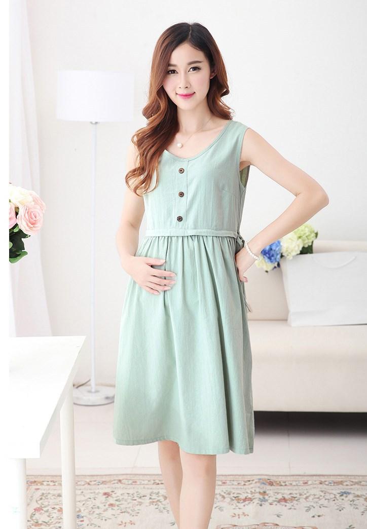 ee4f0d33986 2019 Fashion Maternity Dresses Linen Cotton Nursing Dress ...