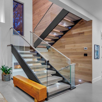 Modern Simple Glass Railing Staircase Stairs Double Steel Stringer
