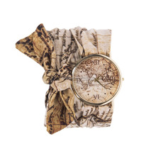 Fashion Trends Printing Big Elegant flower Cloth Strap Women Watch With Long Straps