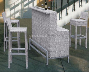 Bar counter design outdoor pool party used furniture high chair and rattan french bistro table
