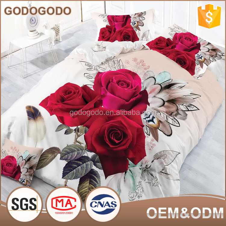 Home Choice Bedding Luxury Super King Size Polyester Red Rose Flower Design Bed Sheets 3D