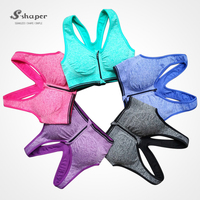 S-SHAPER 2016 New Arrival Colorful Sport Women's Yoga Bra With Zipper