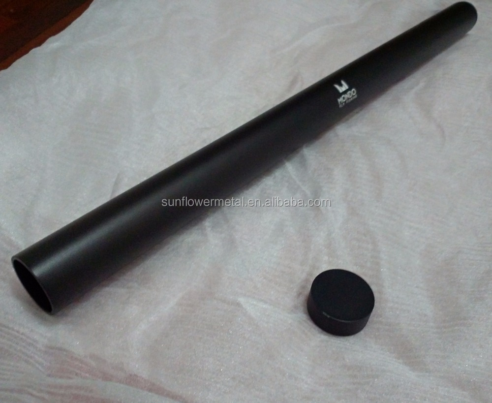 High grade black anodized aluminium extrusion pipe with threaded cap for finshing rod