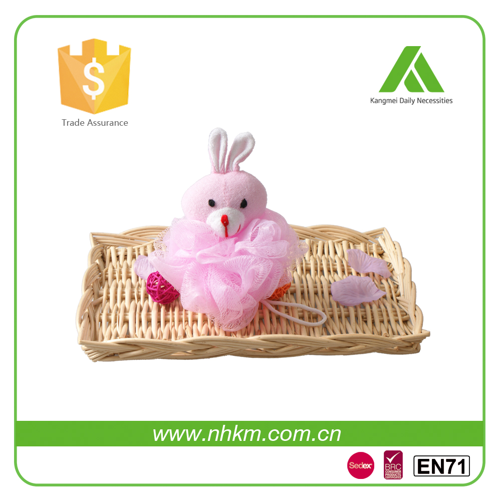 Pink rabbit Bathing Pouf Sponge for Shower or Bath Bathtime Fun for Children