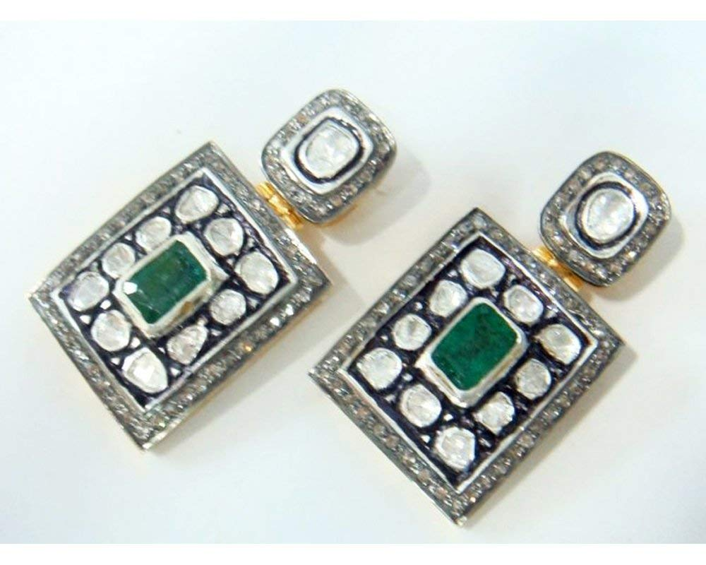 Pave Setting 2.10cts Rose cut Diamond & Emerald Victorian Inspired 925 Sterling Silver Earrings Jewelry
