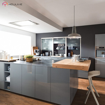 Luxury High Gloss Grey Color Lacquer Finish Kitchen ...
