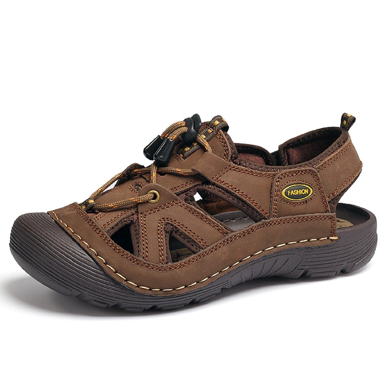 3de935cb53e2 Get Quotations · T-Gold Men s Leather Sandals Outdoor Sports Beach Sandals  Closed-Toe Breathable Walking