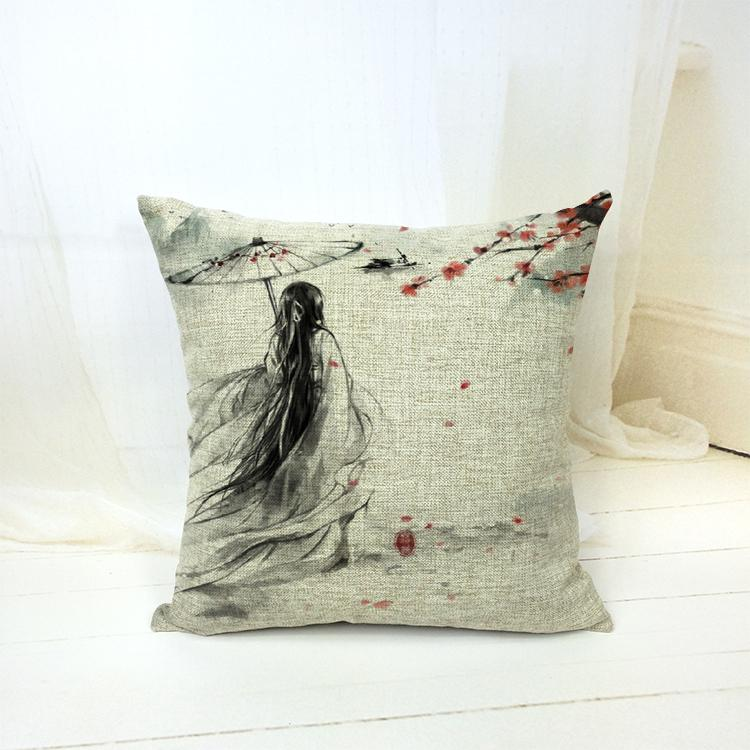 Decorative Throw Pillow Case Classical Chinese ink Paintings Pattern Cushion Home Decor Cotton Linen Removable Pillow Covers