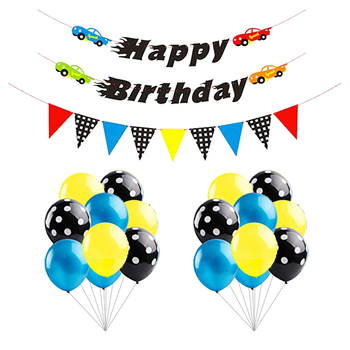 Race Car Party Decoration Kit Car Themed Happy Birthday Banner and Garland, Blue Black Balloons,Let us Go Racing Party Supplies
