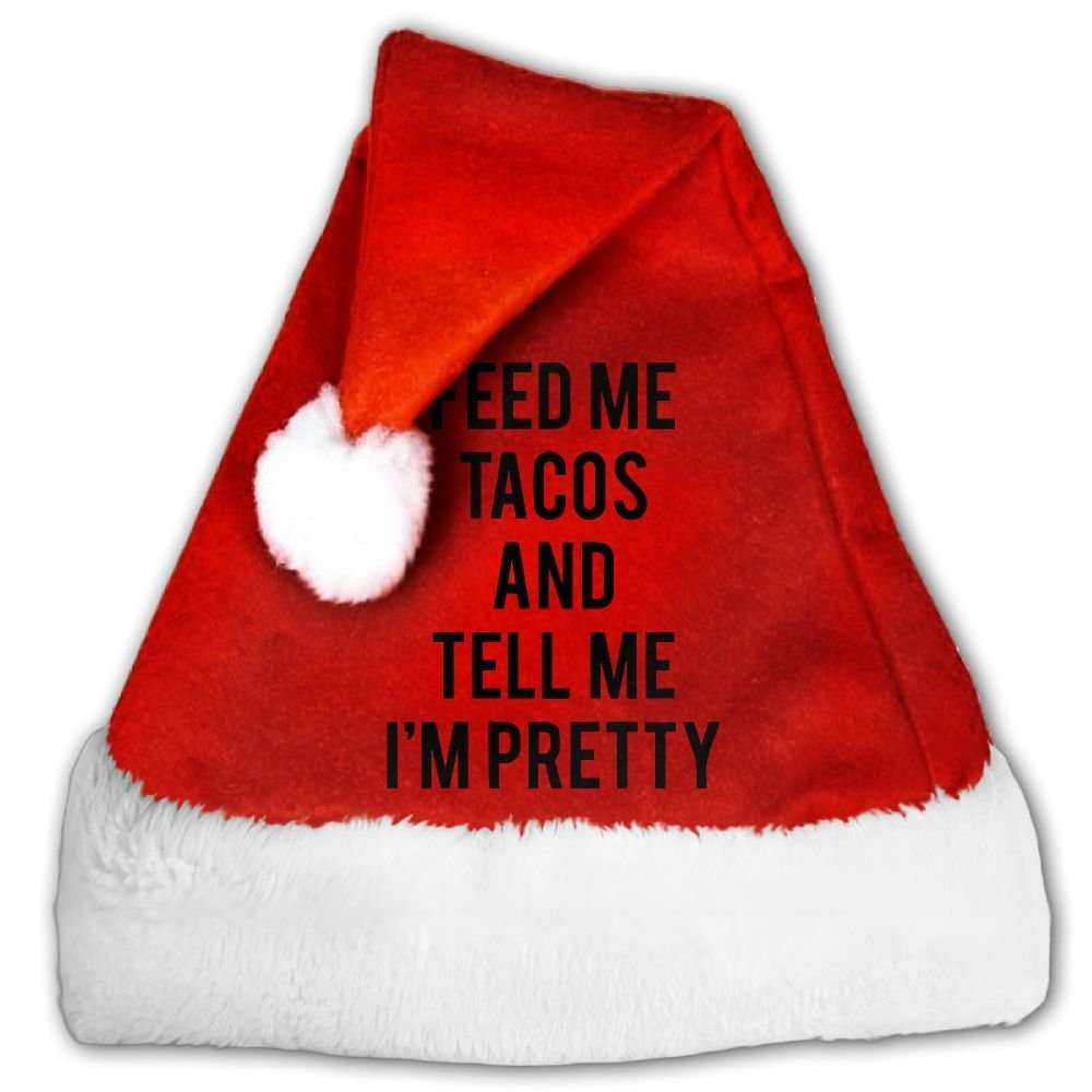 33f14d09fedce Get Quotations · Spring Xmas Feed Me Tacos And Tell Me I m Pretty Christmas  Hat Velvet Santa