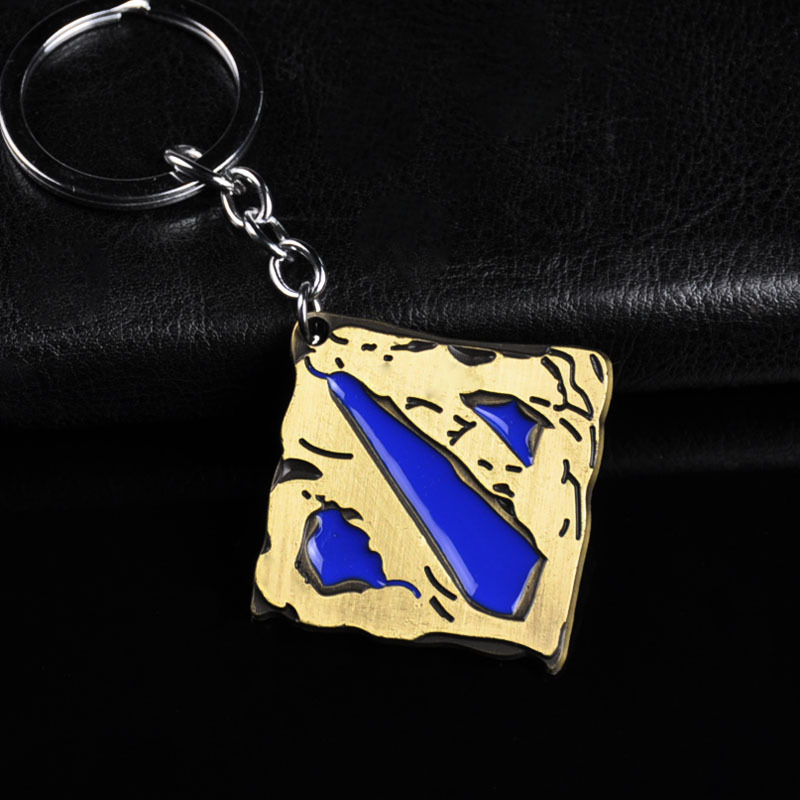 Hot seller tower DOTA2 theme logo weapon model hangs animation key chain creative gift