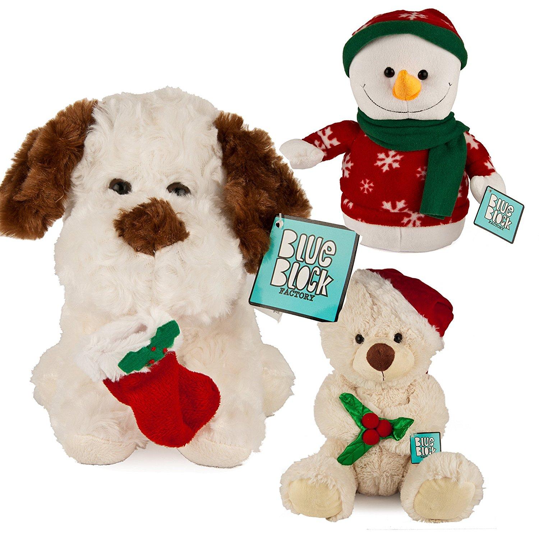 get quotations 3 pack holiday christmas plush stuffed animal set dog penguin snowman kids toys gift - Christmas Plush Toys