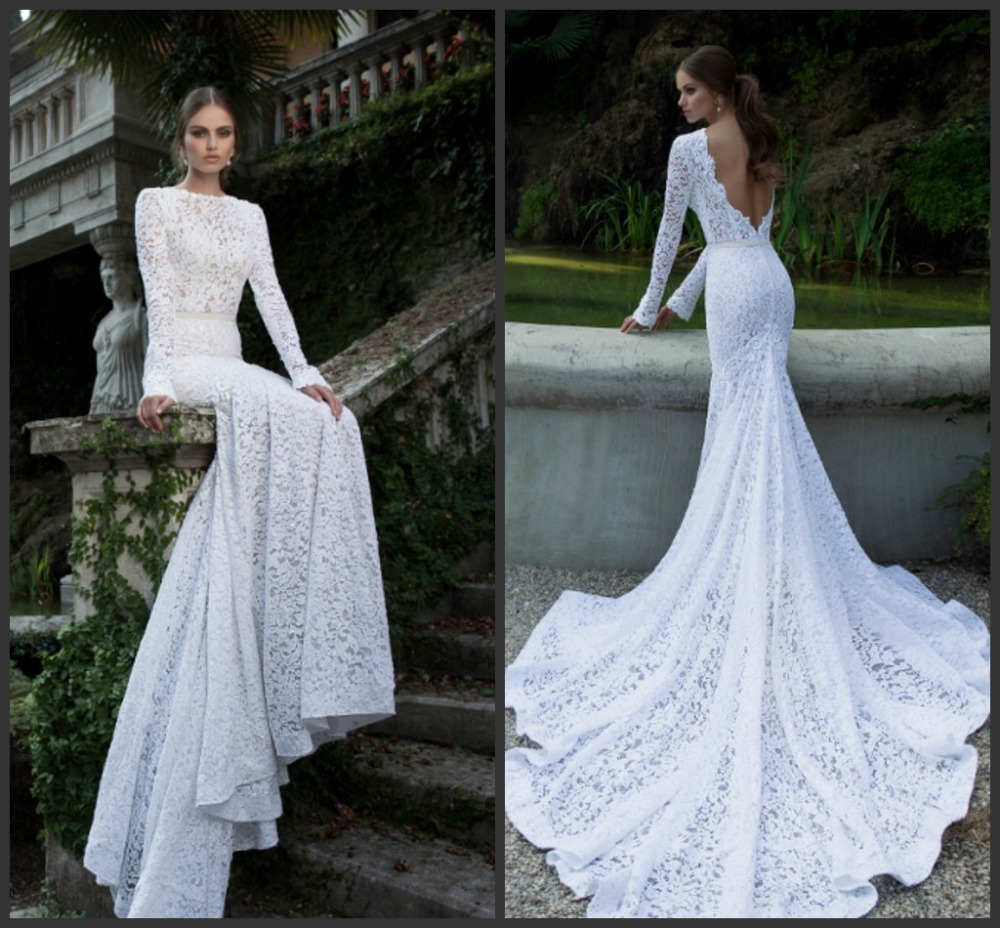 Mermaid Wedding Dresses With Sleeves: Berta-Bridal-Gown-2015-Spring-Sexy-Backless-Full-Lace