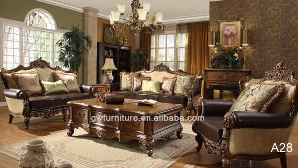 Antique elegant french style living room luxury royal furniture wood carved leather sofa set a25 - Add luxurious look home royal sofa living room ...