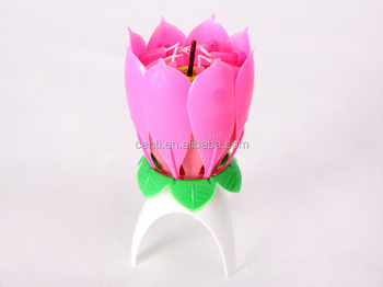 Hot Sale Popular Fireworks Lotus Flower Music Birthday Candle Buy