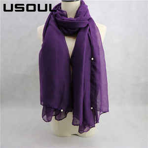 Fashion Best Sell Solid Color Womenbs Voile White Large Pearl Muslim Scarf Hijab