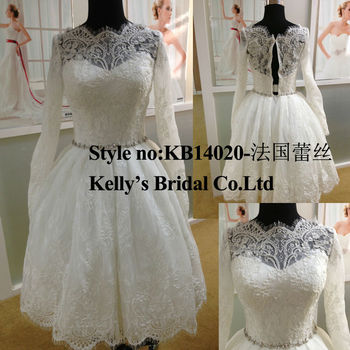 Mmini Short French Lace Long Sleeve Princess Wedding Gowns - Buy ...