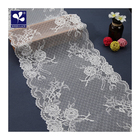 high elastic white net mesh front jacquard flat cutting lace trim for night dress fabric