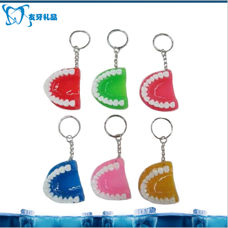 Resin denture keychain dental gifts tooth keychain