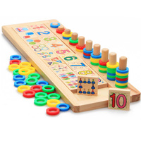 Montessori Educational Wooden Toys Multi-Functional Math Learning Puzzle Stacking Blocks for Toddler Preschool Kids