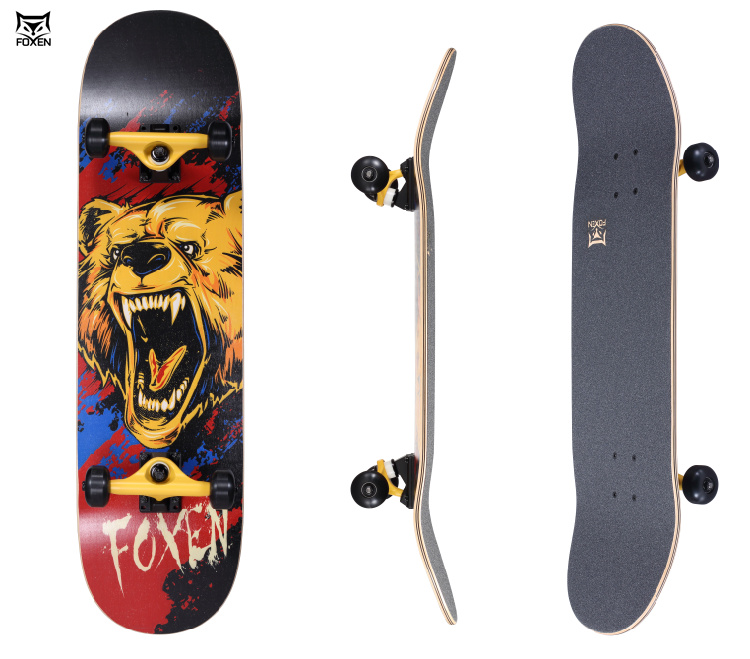 Professional quality 7ply canadian maple skateboard completes , completed skate board with customized cut logo