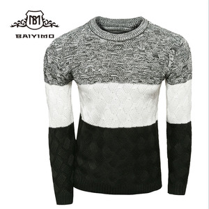Winter long sleeves Hand Made Color Matching Design Boys Wool Sweater