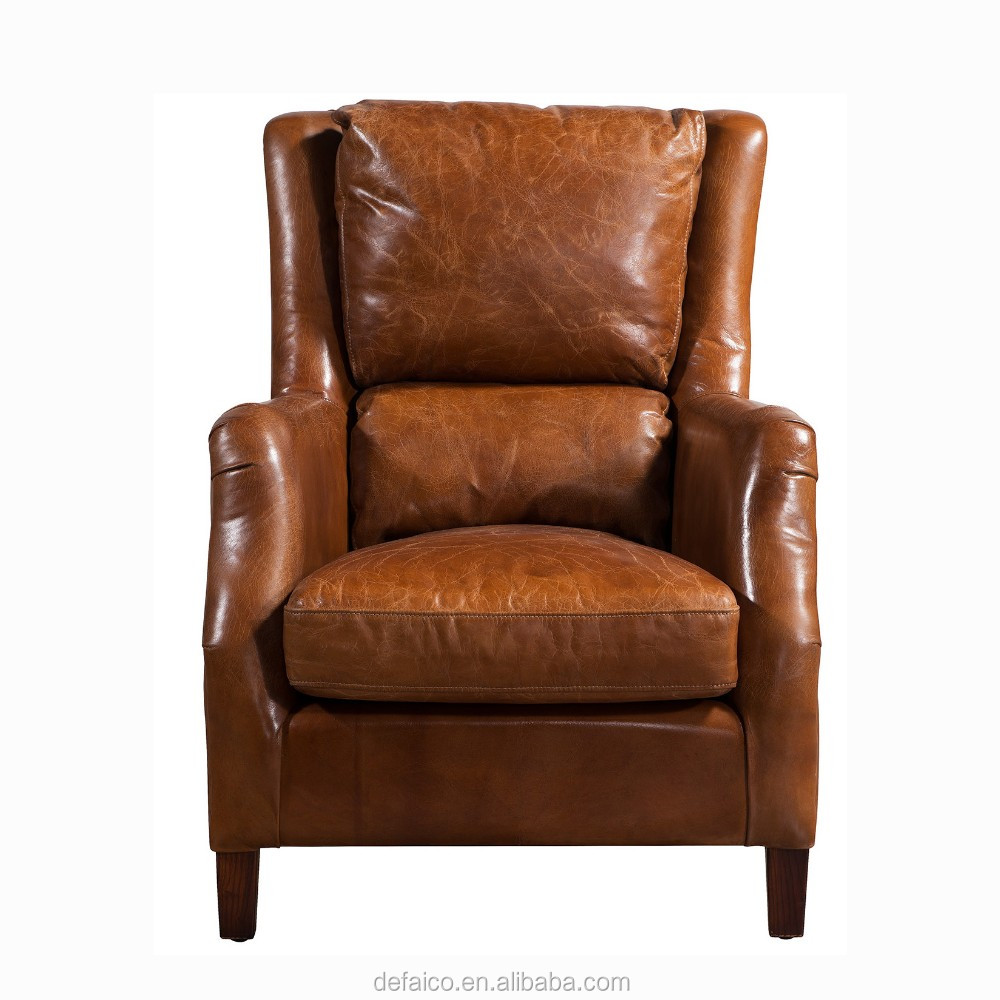 Antique High Back Brown Leather Soft Cushions Armchair ...